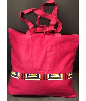 Sac tendance fuschia et motifs colorés  en pagne africain