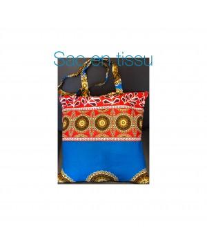 Sac en pagne africain couleur bleu